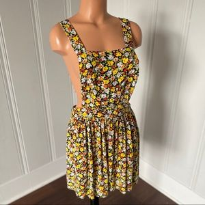 Love Ari Boho Daisy Floral Pinafore Gypsy Dress L